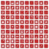 100 learning icons set grunge red. 100 learning icons set in grunge style red color isolated on white background vector illustration Royalty Free Stock Image