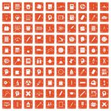 100 learning icons set grunge orange. 100 learning icons set in grunge style orange color isolated on white background vector illustration Royalty Free Stock Images