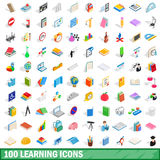 100 learning icons set, isometric 3d style Stock Photography