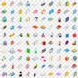 100 learning icons set, isometric 3d style. 100 learning icons set in isometric 3d style for any design vector illustration Royalty Free Stock Photos