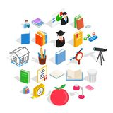 Learning icons set, isometric style. Learning icons set. Isometric set of 25 learning vector icons for web isolated on white background Stock Image