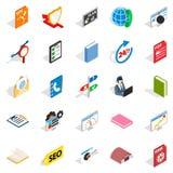 Learning icons set, isometric style Royalty Free Stock Photography