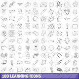100 learning icons set, outline style. 100 learning icons set in outline style for any design vector illustration Stock Photo