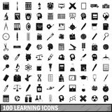 100 learning icons set, simple style. 100 learning icons set in simple style for any design illustration royalty free illustration