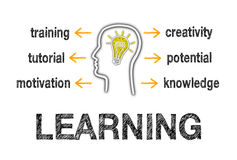 Learning illustrated. Human head outline illustrated with the components of learning including training, tutorial, motivation, creativity, potential and stock illustration