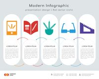 Learning infographics design. Infographics design  and Learning, Homework, Pencils, Glasses, Protractor icons can be used for workflow layout, diagram, annual Royalty Free Stock Image