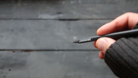 Learning - inscription on pencil, school, student, study, university idea. Learning - Hand holding a pencil with an inscription stock video footage