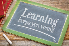 Learning keeps you young on blackboard Royalty Free Stock Images