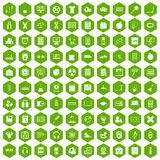 100 learning kids icons hexagon green. 100 learning kids icons set in green hexagon isolated vector illustration royalty free illustration
