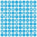 100 learning kids icons set blue. 100 learning kids icons set in blue hexagon isolated vector illustration stock illustration