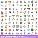 100 learning kids icons set, cartoon style. 100 learning kids icons set in cartoon style for any design vector illustration stock illustration