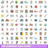 100 learning kids icons set, cartoon style. 100 learning kids icons set. Cartoon illustration of 100 learning kids vector icons isolated on white background Stock Image