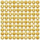 100 learning kids icons set gold. 100 learning kids icons set in gold circle isolated on white vectr illustration Royalty Free Stock Photography