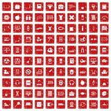 100 learning kids icons set grunge red. 100 learning kids icons set in grunge style red color isolated on white background vector illustration Royalty Free Stock Photos