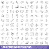 100 learning kids icons set, outline style. 100 learning kids icons set in outline style for any design vector illustration Royalty Free Stock Photography
