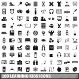 100 learning kids icons set, simple style. 100 learning kids icons set in simple style for any design vector illustration Royalty Free Stock Photos