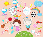 Learning kids vector illustration Royalty Free Stock Image