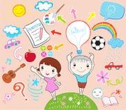 Learning kids vector illustration. Boy and girl learning vector illustration Royalty Free Stock Image