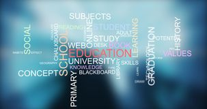 Learning knowledge through training education word typography stock video footage