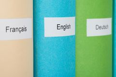 Learning Language Books. Three Different Learning Languages Books In Row Royalty Free Stock Images