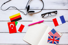 Learning language lifestyle in online school concept on table top view Stock Photography