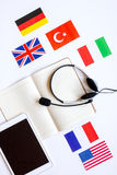 Learning language lifestyle in online school concept on table top view Royalty Free Stock Photo