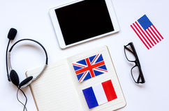 Learning language lifestyle in online school concept on table top view Stock Photos