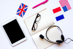 Learning language lifestyle in online school concept on table top view Stock Image