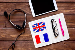 Learning language lifestyle in online school concept on table top view Stock Images