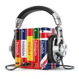 Learning languages online. Audiobooks concept. stock illustration