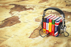Learning languages online. Audiobooks concept.  Stock Image
