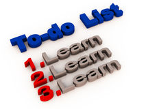 Learning list. A to-do list showing learning as the only priority, education and learning concept royalty free illustration