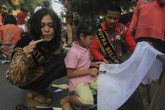 Learning make batik Stock Image