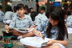 Learning make batik Royalty Free Stock Image