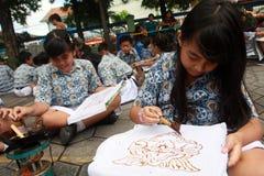 Learning make batik Stock Photo