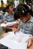 Learning make batik Stock Images