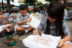 Learning make batik Royalty Free Stock Images