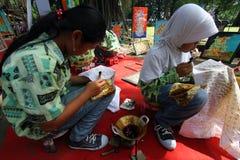 Learning make batik Stock Photos