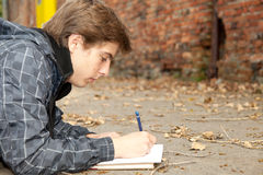 Learning male student in park Royalty Free Stock Photography