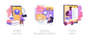 Learning management system abstract concept vector illustrations.