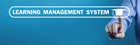 Learning Management System with Graduation Cap royalty free stock image