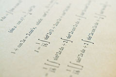 Learning math. Closeup of mathematical lessons on differential and integral calculus stock photo