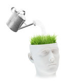 Learning and mental development concept. Grass growing out of a head Royalty Free Stock Image