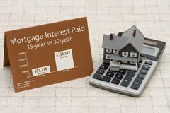 Learning about mortgage interest rates costs. House on a calculator with a card and an infographic on the mortgage interest paid Royalty Free Stock Image