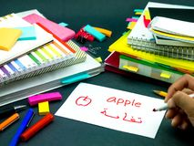 Learning New Language Making Original Flash Cards; Arabic Royalty Free Stock Image