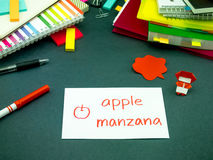 Learning New Language Making Original Flash Cards; Spanish Stock Image