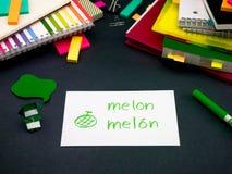 Learning New Language Making Original Flash Cards; Spanish Royalty Free Stock Images