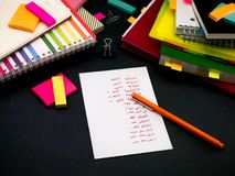 Learning New Language Writing Words Many Times on the Notebook;. Arabic royalty free stock photography