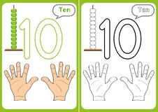 Learning the numbers 0-10, Flash Cards, educational preschool activities. Worksheets for kids Royalty Free Stock Photo