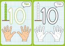 Learning the numbers 0-10, Flash Cards, educational preschool activities. Worksheets for kids Stock Photo